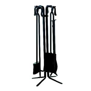 Five-Piece Black Wrought Iron Tool Set with Crook Handles