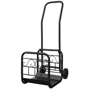Black Large Wrought Iron Log Rack with Wheels and Removable Cart