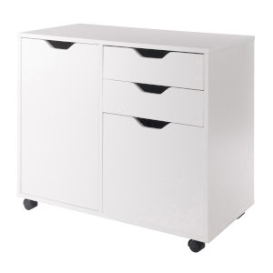 Halifax White Two-Section Mobile Filing Cabinet