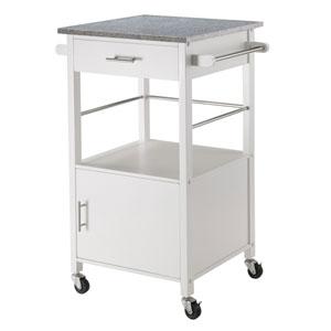 Davenport Kitchen Cart with Granite Top White