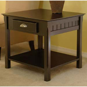 Black Wooden End Table