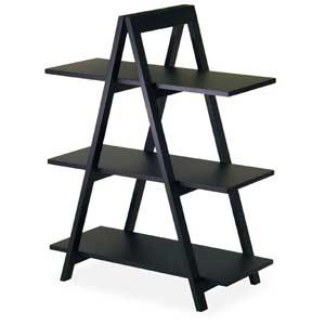 A-Frame Black Wood Shelf