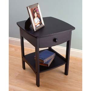 Curved Black Wooden Night Stand