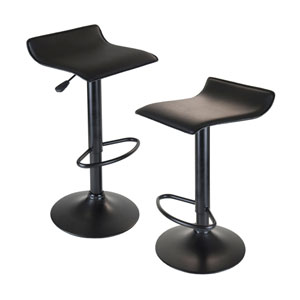 Obsidian Set of 2 Adjustable Swivel Air Lift Stool, Backless, Black Pac Seat, Black Metal Post and Base