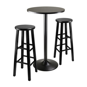 Obsidian Square Black Pub Table with Two 29 Inch Wood Stool Square Legs, Three Piece