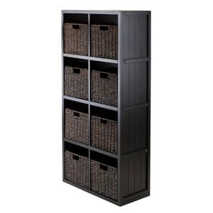 9-Piece Wainscoting Panel Shelf 4 x 2 Slots with 8 Baskets
