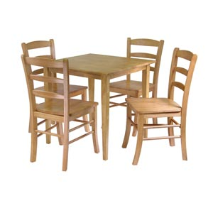 Groveland Five-Piece Light Oak Square Dining Set