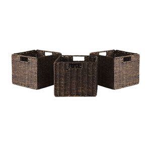 Granville Foldable Three Piece Small Corn Husk Baskets, Chocolate