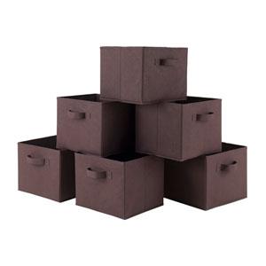 Capri Set of 6 Foldable Chocolate Fabric Baskets