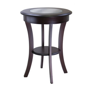 Cassie Cappuccino Round Accent Table with Glass