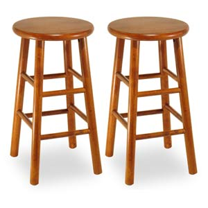 Cherry 24-Inch Kitchen Stools, Set of Two