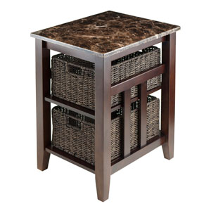 Zoey Side Table Faux Marble Top with 2 Baskets