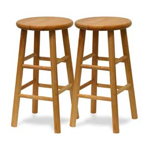 24-Inch Natural Bar Stool, Set of Two