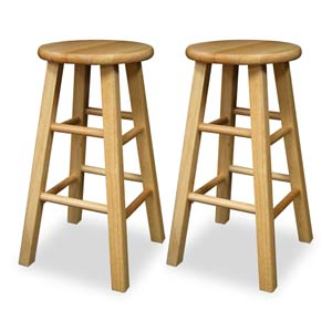 24-Inch Solid Beechwood Kitchen Stools, Set of Two