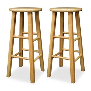 29-Inch Solid Beechwood Kitchen Stools, Set of Two