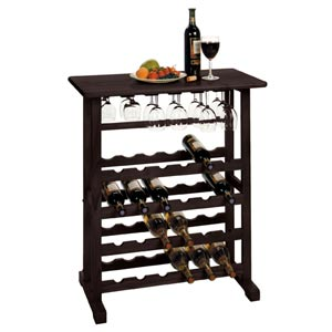 Vinny 24-Bottle Wine Rack with Glass Hanger