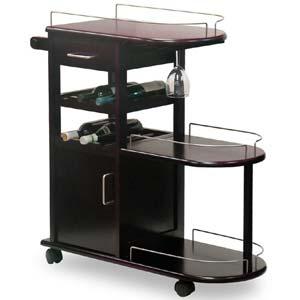 Espresso Wood Entertainment Cart