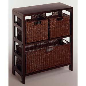 Espresso Wide Basket Storage Shelf