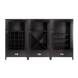 Bordeaux 3-Piece Modular Wine Cabinet  Set with Tempered Glass Doors