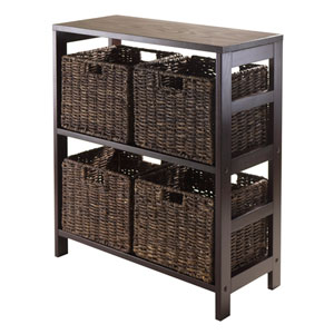 Granville 5 Piece Storage Shelf with 4 Foldable Baskets, Espresso