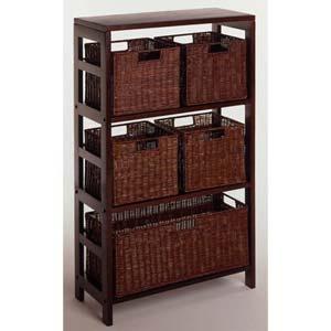Three Section Espresso Storage Shelf