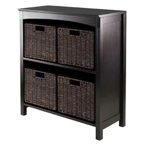 Terrace Storage Three-Tier Shelf with Four Small Baskets, Five Piece