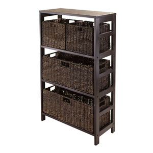 Granville 5 Piece Storage Shelf with 2 Large and 2 Small Foldable Baskets, Espresso