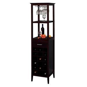 Espresso Eighteen-Bottle Wine Tower