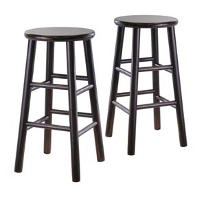 24-Inch Bevel Seat Espresso Bar Stools, Set of Two