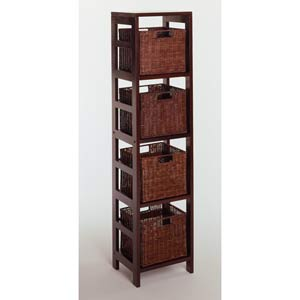 5-Piece Storage Shelf with 4 Small Baskets