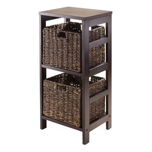 Granville 3 Piece Storage Shelf with 2 Foldable Baskets, Espresso