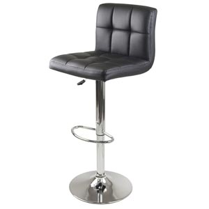 Stockholm Black Air Lift Stool with Swivel Square Grid Faux Leather Seat