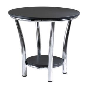 Maya Round Black End Table with Metal Legs