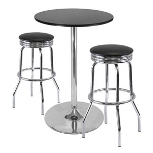 Summit 3-Piece Pub Table Set, 28-Inch Table and 2 Stools
