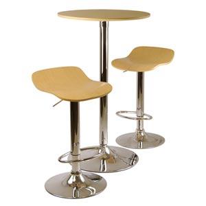Kallie Three-Piece Natural Pub Table and Stools Set