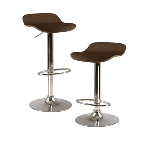 Kallie Cappuccino Air Lift Adjustable Stool with Veneer Top and Metal Base, Set of Two