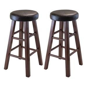 Marta Set of 2 Round Counter Stool, Pu Leather Cushion Seat, Square Legs, Assembled