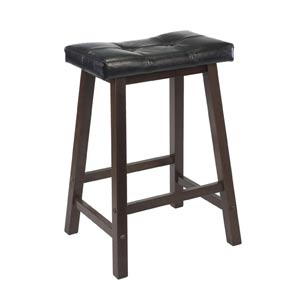 24-Inch Black Faux Leather Cushion Saddle Seat Stool