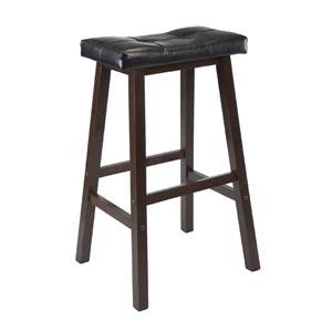 29-Inch Black Faux Leather Cushion Saddle Seat Stool