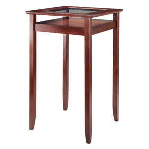 Halo Pub Table with Glass Inset and Shelf, Walnut