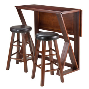 Harrington 3-Piece Drop Leaf High Table, with Two 24-Inch Cushion Round Seat Stools