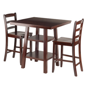 Orlando 3-Piece Set High Table, 2 Shelves with 2 Ladder Back Stools
