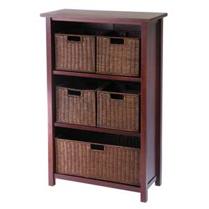 4-Tier Long Storage Shelf, Large and Small Baskets