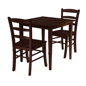 Groveland Three-Piece Antique Walnut Square Dining Set