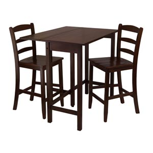 Lynnwood Three-Piece Drop Leaf High Table with Two Counter Ladder Back Stools