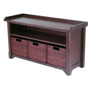 Storage Hall Bench with 3-Baskets