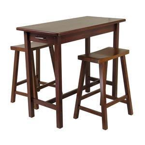 3-Piece Kitchen Island Set with 2 Saddle Seat Stools