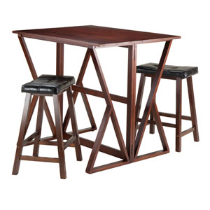 Harrington 3-Piece Drop Leaf High Table, with Two 24-Inch Cushion Saddle Seat Stools