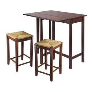 Lynwood Three-Piece High Drop Leaf Table with Rush Seat Stool