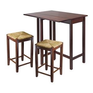Lynwood Three-Piece High Drop Leaf Table with Rush Seat Stool
